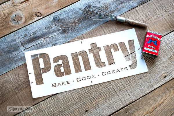 Pantry by Funky Junk's Old Sign Stencils. Paint professional looking vintage farmhouse styled pantry signs onto reclaimed wood with a stencil in minutes!