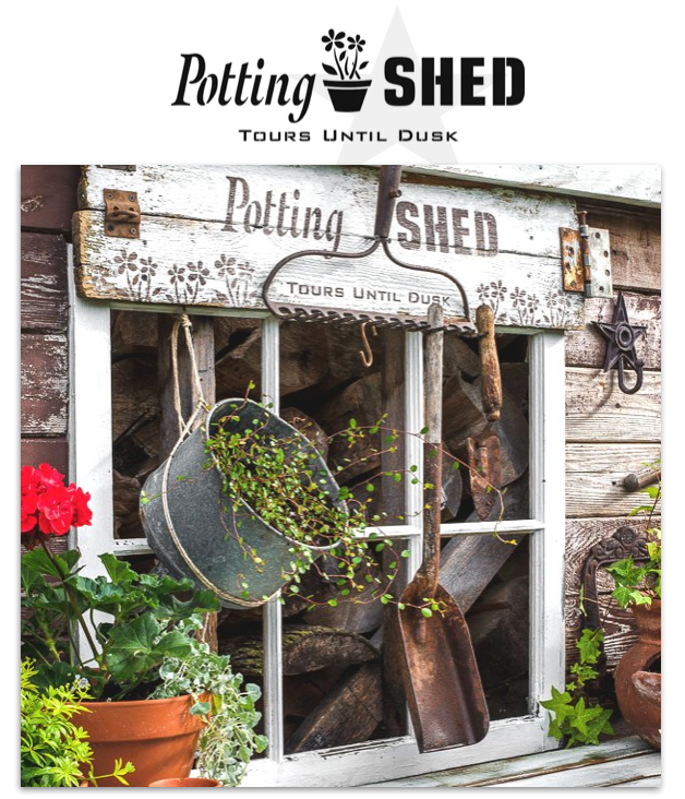 Potting Shed by Funky Junk's Old Sign Stencils. Paint professional looking vintage farmhouse styled garden signs onto reclaimed wood with a stencil in minutes!