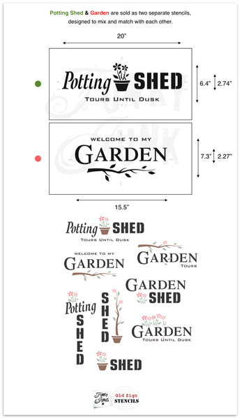 Potting Shed and Welcome To My Garden by Funky Junk's Old Sign Stencils. Two mix & match garden-themed stencils. Paint professional looking vintage farmhouse styled garden signs onto reclaimed wood with a stencil in minutes!