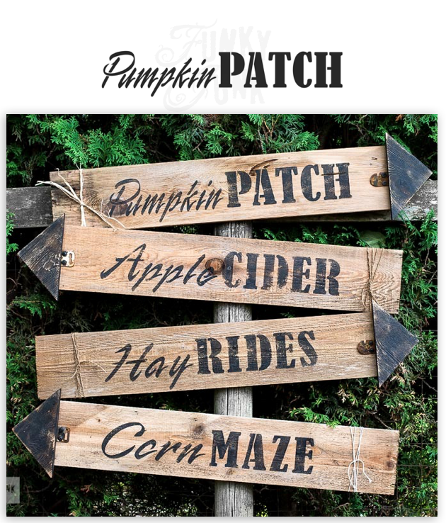 Pumpkin Patch fall stencil by Funky Junk's Old Sign Stencils is the perfect stencil for fall or Halloween decorating! Create a sign on reclaimed wood, use it on furniture, or anywhere desired! Collect all our fall signs that match - Corn Maze, Hay Rides and Apple Cider.