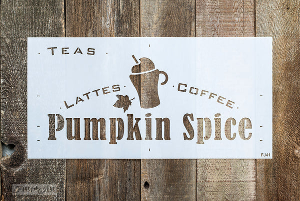 Pumpkin Spice Lattees, Coffee, Teas with a mug and cinnamon stick graphic stencil - by Funky Junks's Old Sign Stencils
