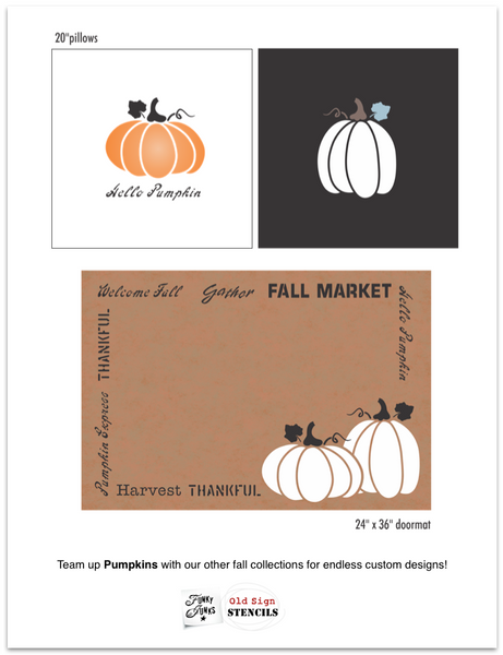 Pumpkins stencil by Funky Junk's Old Sign Stencils celebrates fall when the pumpkin fields are ripe for picking that special jack-o-lantern! This stencil comes with two large pumpkins, one wide and the other tall, that compliment each other. They are perfect for stenciling fall throw pillows.