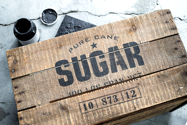 Pure Cane Sugar stencil by Funky Junk's Old Sign Stencils. This stencil is designed as a classic vintage logo with a star graphic, including weights and stamps that will make an impressively authentic crate stamp or grain sack, especially when teamed up with our Grain Sack Stripe stencils!