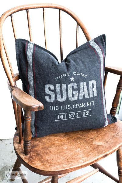 Create an authentic looking grain sack pillow with Sugar and Grain Sack Stripes from Funky Junk's Old Sign Stencils!
