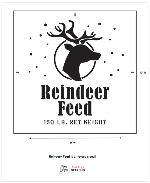 Reindeer Feed is a Christmas-themed stencil designed to mimic a feed grain sack. A reindeer head logo surrounded by gentle falling snow, along with a net weight  makes this one feel like the real deal. Perfect for signs, pillows, gifts, and would look charming as a Santa sack to wrap presents with!