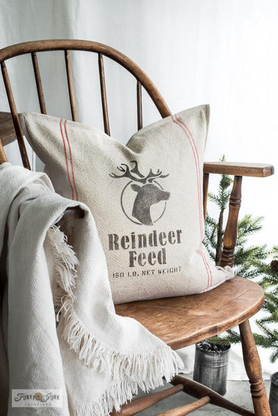 Create a realistic looking grain sack pillow with Reindeer Feed and Grain Sack Stripes with Funky Junk's Old Sign Stencils!