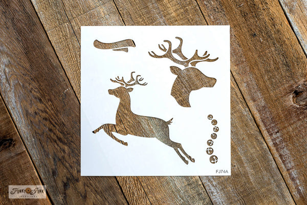 2 Reindeer Kit with bells and scarf | Funky Junk's Old Sign Stencil Christmas stencil