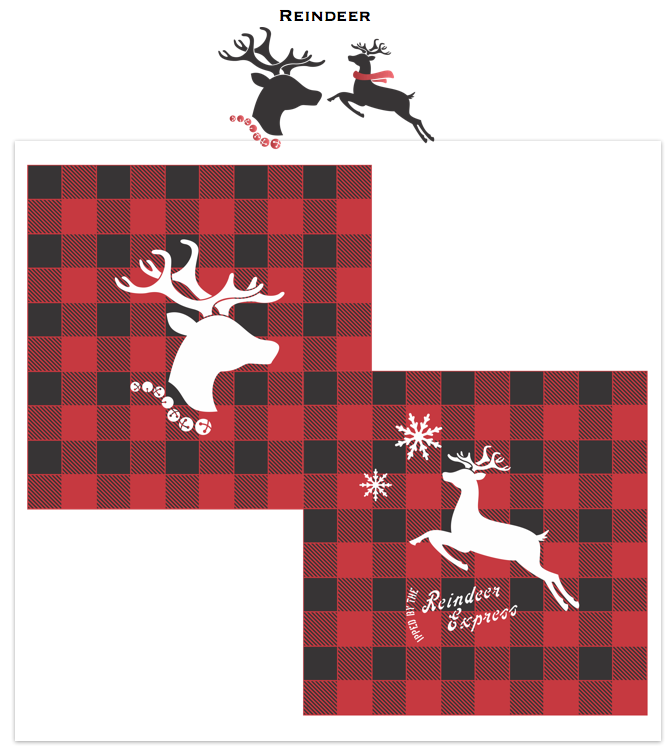 The Reindeer stencils are 3 different Christmas-themed stencils that come with jingle bells or scarf graphics to enhance their festive presence! Choices are: 2 Reindeer Kit (both head and flying), Reindeer Head + Jingle Bells, and Flying Reindeer + Scarf. They are the perfect companion to our Buffalo Check stencil!