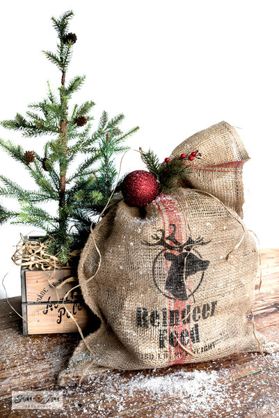 Create a realistic grain sack with Reindeer Feed and Grain Sack Stripe stencils with Funky Junk's Old Sign Stencils!