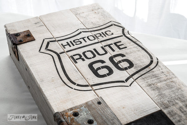 Historic Route 66 pallet wood cupboard, with Funky Junk's Old Sign Stencils. Paint professional looking road / auto signs onto reclaimed wood in minutes with this popular stencil! Comes in two sizes, styled with official emblem look.