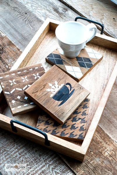 Create rustic wintery coasters with stencil patterns from Funky Junk's Old Sign Stencils!