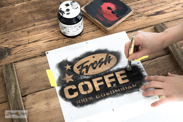 Fresh Coffee stencil by Funky Junk's Old Sign Stencils