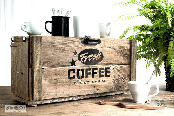 Learn how to make a rustic Fresh Coffee station appliance garage with Funky Junk's Old Sign Stencils!