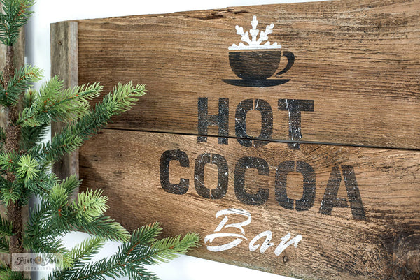 Make a charming rustic Hot Cocoa Bar Christmas sign with Hot Cocoa with Cup from Funky Junk's Old Sign Stencils!
