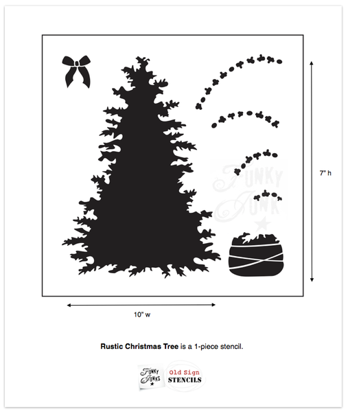Rustic Christmas Tree is a Christmas-themed stencil of a pine tree designed with rustic, natural branches loaded with detail to give it a true natural feel. It comes with a rope-tied burlap sack tree base plus a bow to dress up the tree or the sack.  Included is a garland of popcorn and cranberries for the full effect!