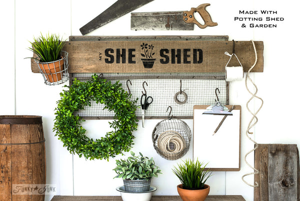 She Shed sign make with Potting Shed stencil by Funky Junk's Old Sign Stencils. Paint professional looking vintage farmhouse styled garden signs onto reclaimed wood with a stencil in minutes!