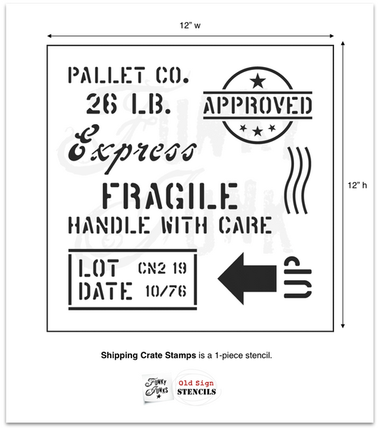 The Shipping Crate Stamps stencil is designed to help you create the illusion that your project was made out of a shipping crate! This series uses a true stencil font, along with a bold arrow and Approved stamp for a little extra authentic punch! Perfect for pallet wood, lumber, or any wood projects small or large.