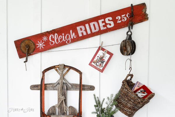 Sleigh Rides by Funky Junk's Old Sign Stencils. Create professional painted winter themed sleigh styled signs onto reclaimed wood in minutes with this festive, wintery stencil design!