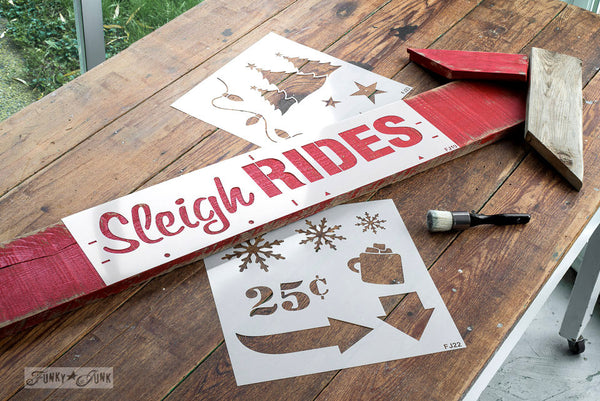 Christmas Graphics and Winter Graphics by Funky Junk's Old Sign Stencils. Paint professional looking winter themed designs consisting of 3 sizes of snowflakes, hot cocoa, 2 arrows, and 25 cents this stencil! All designs on one sheet.