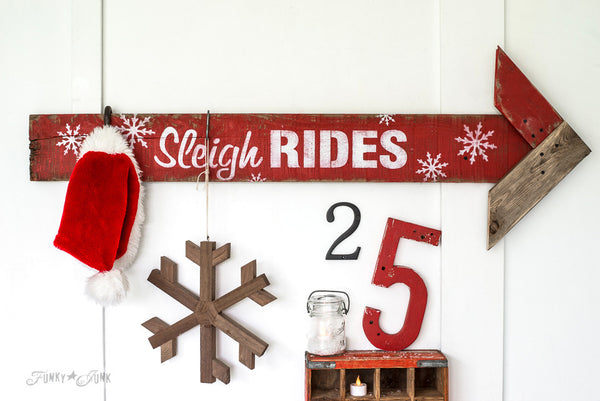 Snowflakes added to a festive Sleigh Rides sign with Winter Graphics by Funky Junk's Old Sign Stencils. Paint professional looking winter themed designs consisting of 3 sizes of snowflakes, hot cocoa, 2 arrows, and 25 cents this stencil! All designs on one sheet.