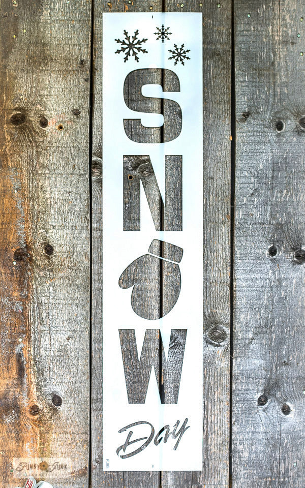 Snow Day is a vertical winter / Christmas stencil that celebrates the joyful aspects of a good snowfall! Includes a cozy glove that can be enhanced with the added snowflakes. Makes a perfect Christmas decorating front porch sign or as wall decor.