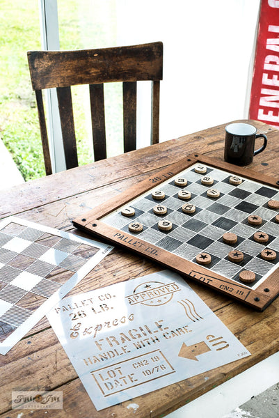 Make this DIY Checkerboard with the Buffalo Check stencil from Funky Junk's Old Sign Stencils!
