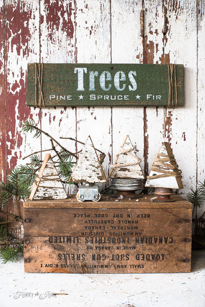 String wrapped wood scrap Christmas trees with Trees sign made with the Christmas Trees stencil from Funky Junk's Old Sign Stencils