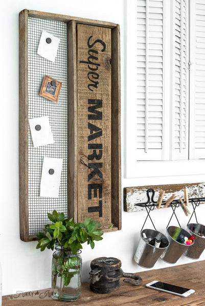 Super Market soil sifter memo board, part of Market Extensions by Funky Junk's Old Sign Stencils. Paint professional looking vintage farmhouse styled market signs with Vintage, Super, Flower and Flea.