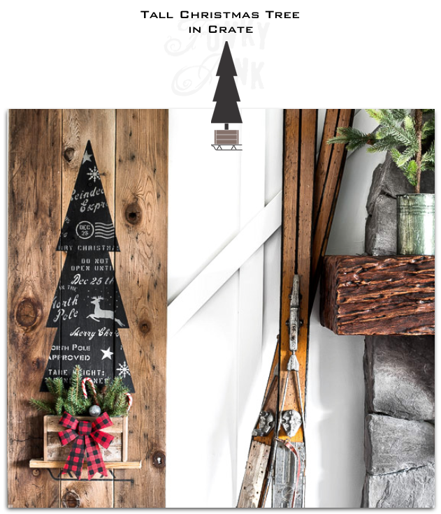 Tall Christmas Tree in Crate is a vertical winter / Christmas themed stencil that celebrates creative tree decorating! Designed as a tall evergreen tree, tucked inside a rustic crate tree skirt set on top of a sleigh. Makes the perfect front porch sign for Christmas decorating.