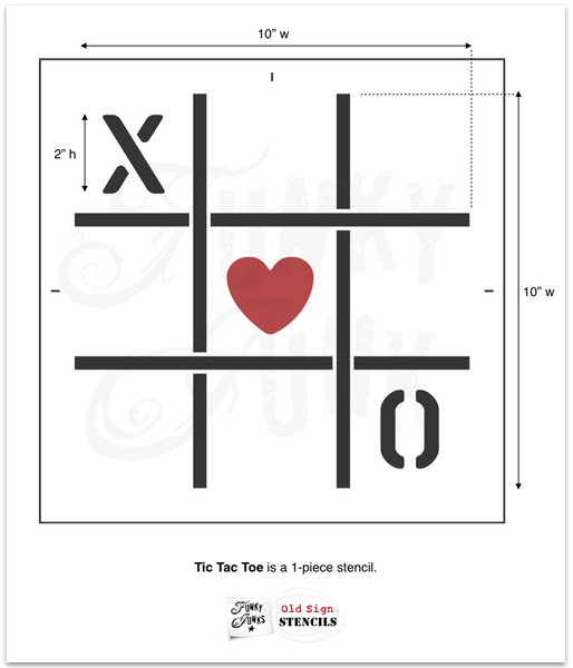 "Tic Tac Toe stencil by Funky Junk's Old Sign Stencils is a 10"" x 10"" 1-piece stencil designed with a grid, X, O, and a heart. Perfect to design an all-season board game or to create the perfect whimsical Valentine's Day project take!"