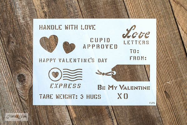 Valentine Crates stencil by Funky Junk's Old Sign Stencils is 1 stencil with multiple Valentine's Day greetings, shipping crate-style! Stencil on reclaimed wood projects, gift wrap or any small Valentine's day project. Includes a tag, hearts, crate lettering with Cupid Approved, Love Letters, XO, Be My Valentine, plus!