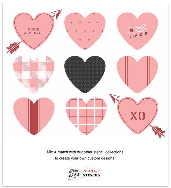 Mix & match patterns with hearts to create your own custom Valentine's Day themed designs with Funky Junk's Old Sign Stencils!