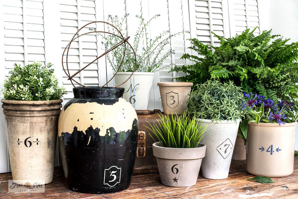 Vintage Crock Numbers by Funky Junk's Old Sign Stencils are number stencils with decorative accents and borders, allowing you to stencil the charming look of a labeled vintage crock onto most any pot desired! Numbers 0-9 are included.