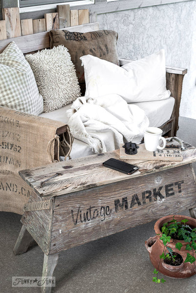Vintage Market sawhorse coffee table, part of Market Extensions by Funky Junk's Old Sign Stencils. Paint professional looking vintage farmhouse styled market signs with Vintage, Super, Flower and Flea.