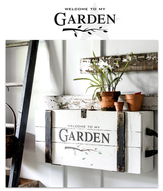 Welcome To My Garden by Funky Junk's Old Sign Stencils. Paint professional looking garden themed signs onto reclaimed wood in minutes with this summer infused stencil design complete with a whimsical branch graphic.