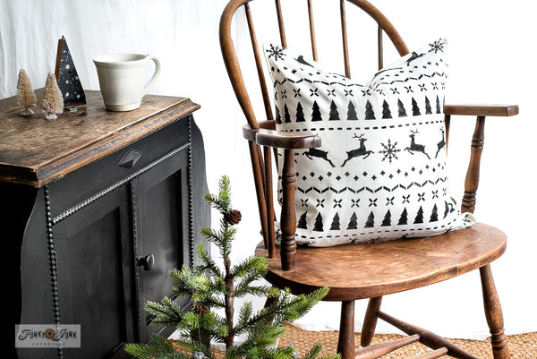 Christmas Sweater by Funky Junk's Old Sign Stencils is a repeating Christmas sweater pattern stencil that adds cozy festive charm to your painted projects! Designed with reindeer, a snowflake, trees and stitching patterns for an authentic sweater look. Sized in a square shape perfect for throw pillows.