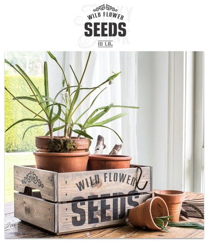 Wild Flower Seeds 10 LB garden stencil by Funky Junk's Old Sign Stencils celebrates all things garden, crate or grain sack style! Big, bold timeless letters with a decorative flourish. Compact for smaller garden projects.