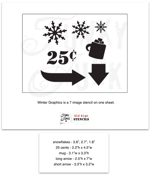 Winter Graphics by Funky Junk's Old Sign Stencils. Paint professional looking winter themed designs consisting of 3 sizes of snowflakes, hot cocoa, 2 arrows, and 25 cents this stencil! All designs on one sheet.