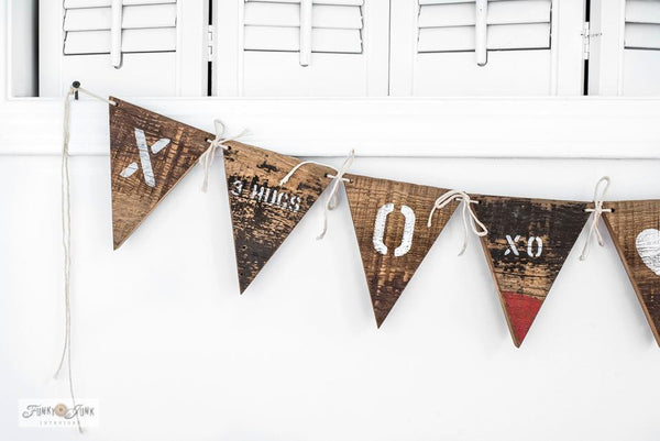 Make this rustic scrap wood Valentine's Day banner with Valentine Crates and Tic Tac Toe from Funky Junk's Old Sign Stencils!