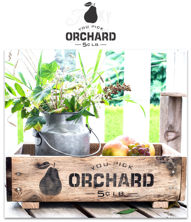 "You Pick Orchard 5 cents LB. by Funky Junk's Old Sign Stencils is a fruit crate  sign stencil that celebrates your favorite seasonal fruit, fresh off the farm! It comes with a pear graphic and is sized to fit most crate sizes and 20"" pillows."