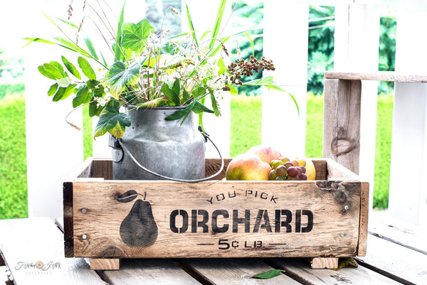 Build and stencil your own You Pick Orchard crate, with stencils from Funky Junk's Old Sign Stencils!