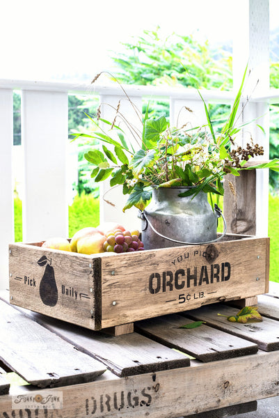 Make this charming fruit crate labeled with You Pick Orchard from Funky Junk's Old Sign Stencils!