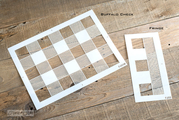 Create a cabin farmhouse inspired Buffalo Check pattern on anything you wish with this stencil! Funky Junk's Old Sign Stencils
