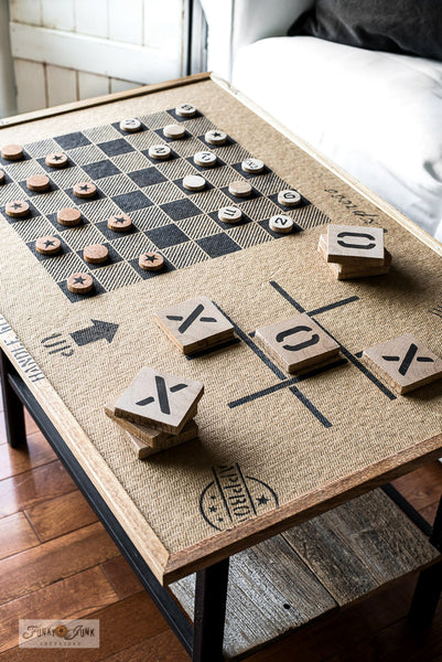 Learn how to make this super fun Checkers and Tic Tac Toe game on one side, and a puzzle board on the other side... Funky Junk's Old Sign Stencils.