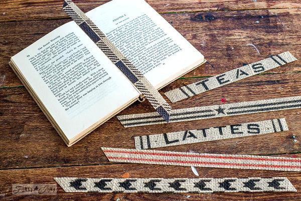 Create a Latte bookmark (and more!) on burlap ribbon with Funky Junk's Old Sign Stencils
