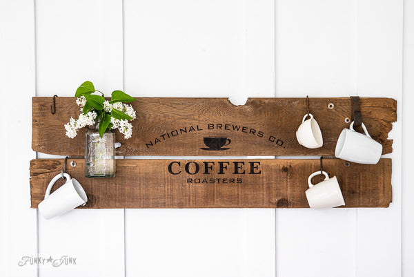 National Brewers Coffee kitchen sign on reclaimed wood by Funky Junk's Old Sign Stencils. Paint professional looking vintage farmhouse styled coffee signs onto reclaimed wood with a stencil!