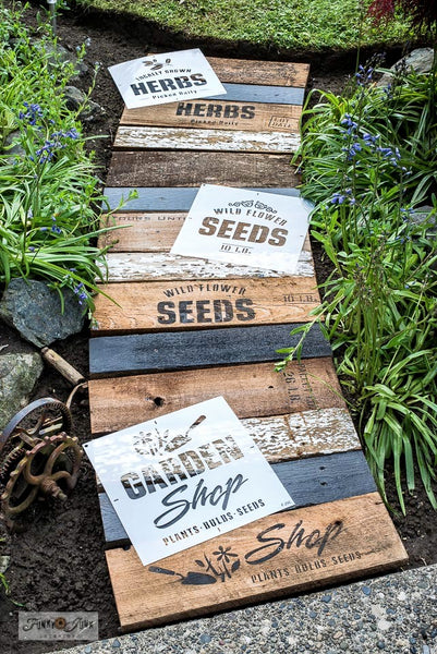Learn how to make this charming garden walkway from scrap wood and garden-themed Funky Junk's Old Sign Stencils! Click for stencils and full tutorial.