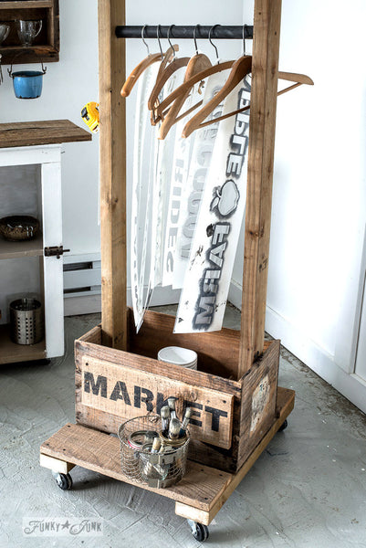 A wood crate stencil trolley, made with Farmer's Market, a stencil by Funky Junk's Old Sign Stencils