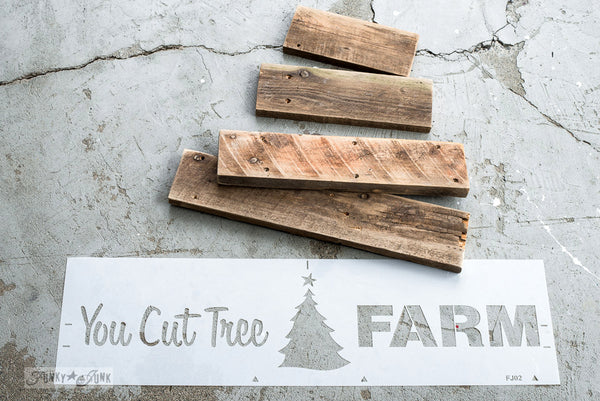 You Cut Tree Farm with Funky Junk's Old Sign Stencils. Paint professional looking Christmas tree signs onto reclaimed wood in minutes with this festive stencil! Christmas tree graphic is included.