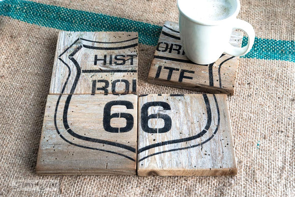 Historic Route 66 coasters, with Funky Junk's Old Sign Stencils. Paint professional looking road / auto signs onto reclaimed wood in minutes with this popular stencil! Comes in two sizes, styled with official emblem look.